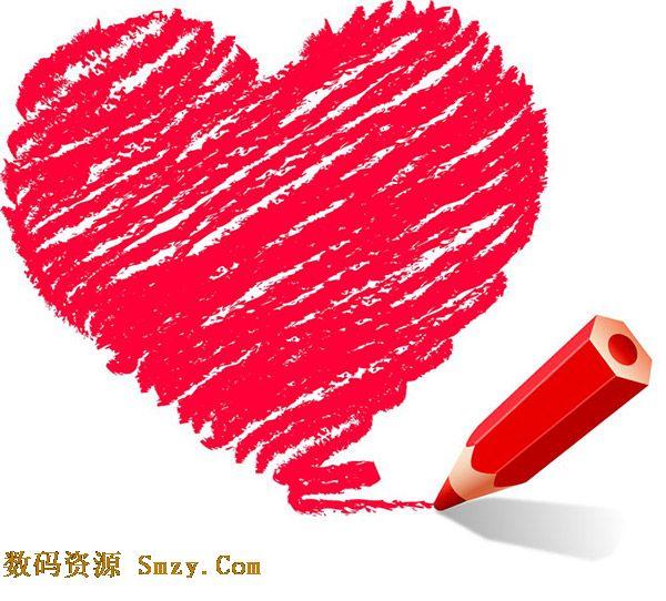 蜡笔画红色心形矢量素材展示的就是红色蜡笔绘制成的心形,可爱童趣