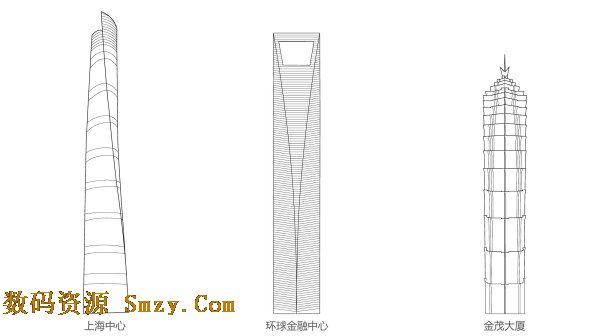 这张 上海著名建筑线稿矢量素材展示的是三大著名建筑,上海中心,环球