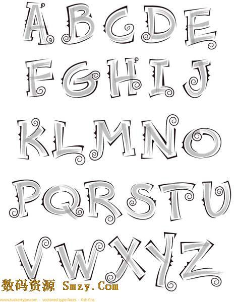 手绘英文字母矢量素材