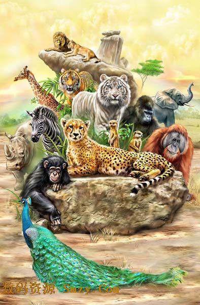 动物,有雄狮,老虎,豹子,斑马,犀牛,长颈鹿,猩猩,大象等,都是以手绘的