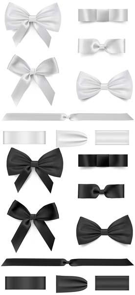 矢量素材 花边 > 黑白简洁蝴蝶结矢量素材下载  蝴蝶结又可以称同心结