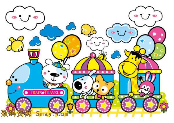 卡通小动物火车矢量素材展示的就是一种手绘卡通画风