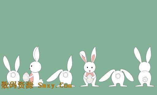 简笔画兔子矢量素材展示了多种视角的兔子