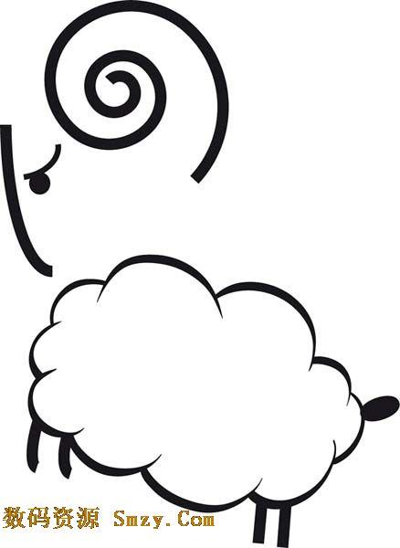 绵羊简笔画矢量素材 的软件界面