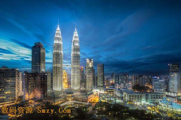 城市夜景之双子塔大厦高清图片
