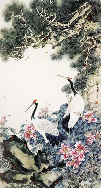 苍松树木,鲜花配仙鹤,详细还请见jpg缩略图,欢迎喜欢的朋友点击下载