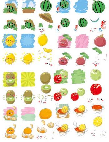 卡通q版水果图标集矢量素材