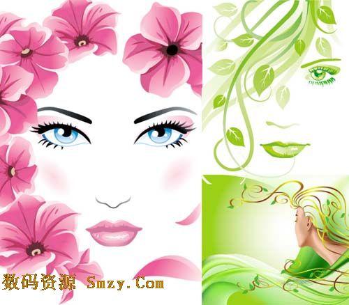 创意花朵绿叶美女头像矢量素材