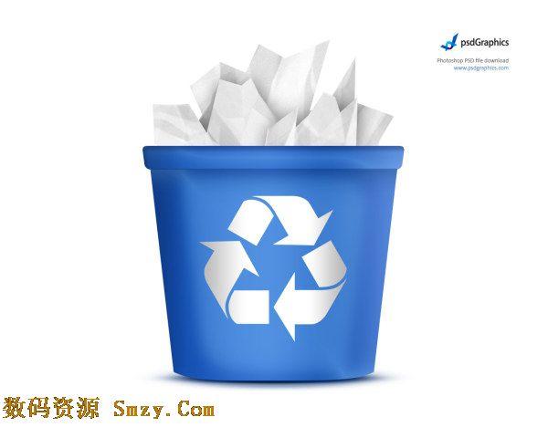 可回收标志蓝色垃圾桶图标psd素材