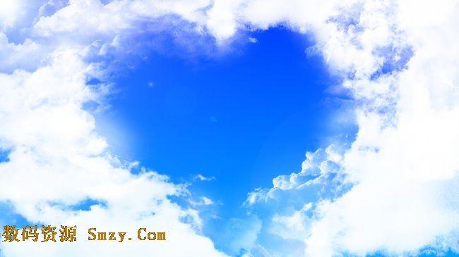非主流蓝色天空心形背景高清图片