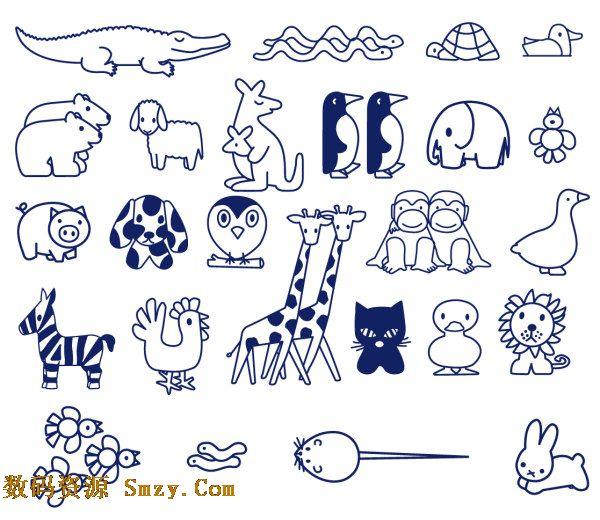 画,用铅笔和简单的线条描绘出各种动物的形象, 儿童简笔画之小动物