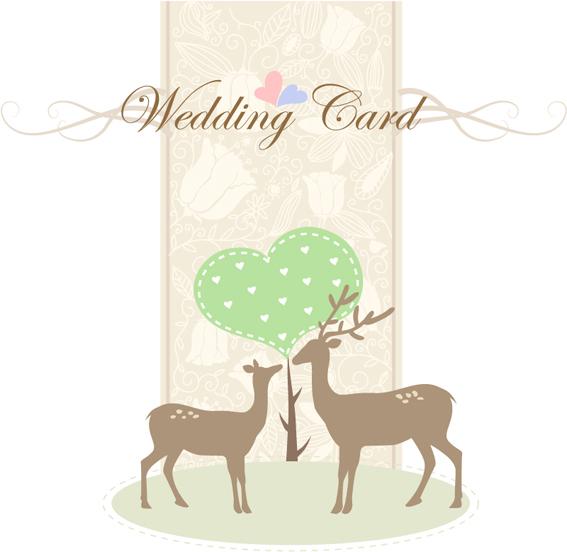 简约淡雅婚礼邀请卡设计矢量素材