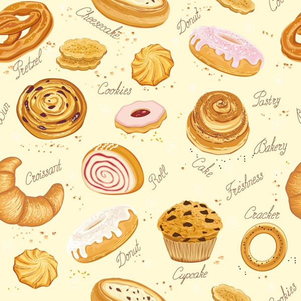 烘焙食品之美味面包矢量素材