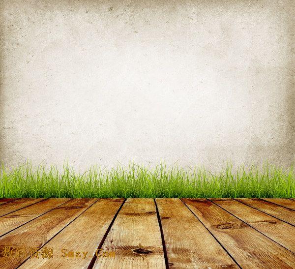 木质墙面青草地板背景高清图片