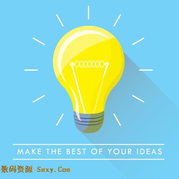 创意发光灯泡设计矢量素材