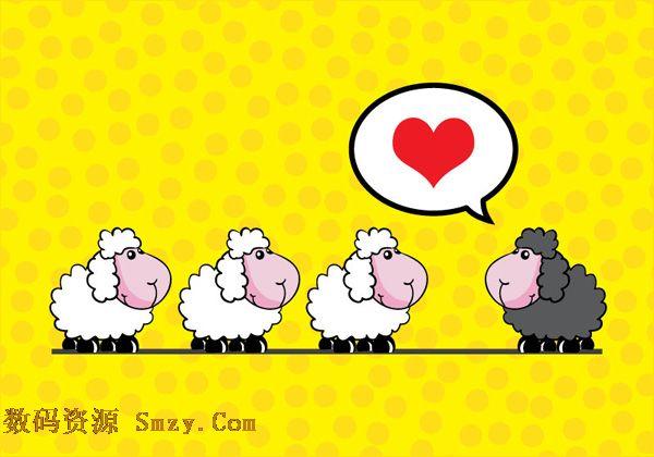 卡通黑白绵羊背景矢量素材