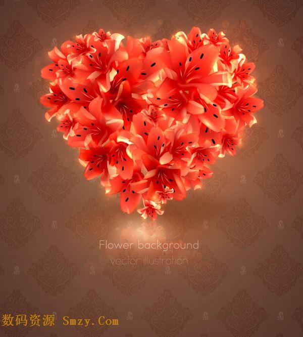 精美百合爱心矢量素材将百合花多萦绕成爱心的形状