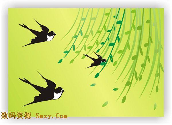春天小燕子简笔画-燕子和柳枝齐飞   幼儿教育:儿童水彩画高清图片