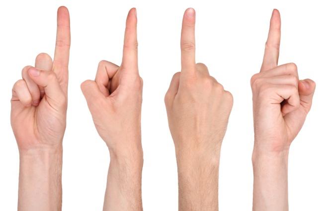 多种角度手势数字一高清图片
