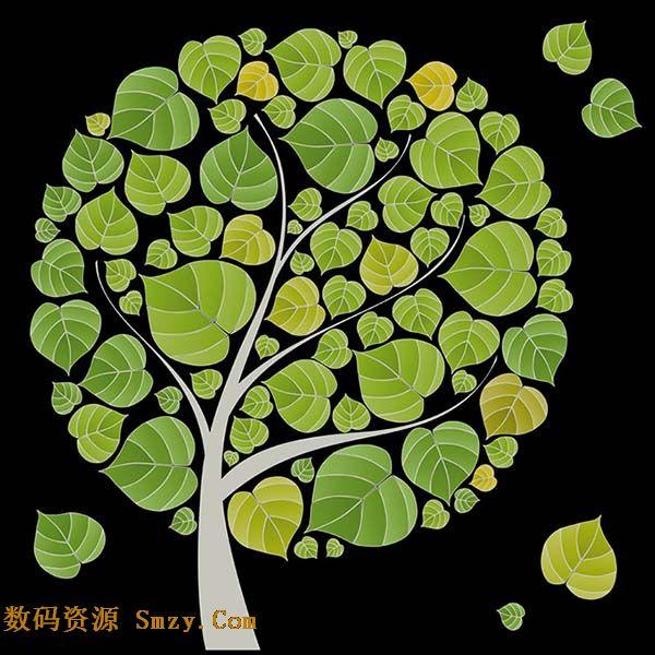 创意大树拼合树叶背景矢量素材