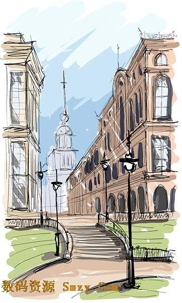 手绘图画之城镇街景矢量素材
