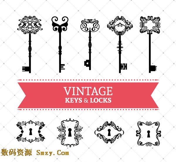 复古花纹锁与钥匙设计矢量素材