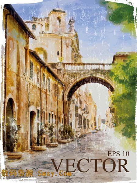 水彩风格复古城市街景矢量素材
