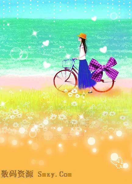 非主流單車少女田園高清圖片圖片