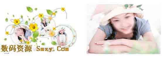 以白色作为本张儿童艺术照模板背景的主色调,右边的那张横版儿童照片