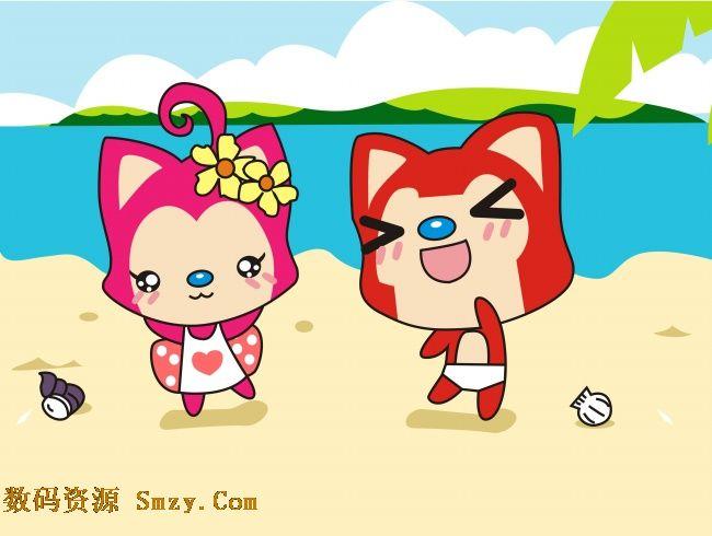 可爱阿狸桃子海滩背景高清图片