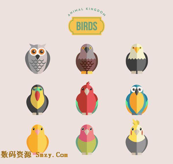 卡通鸟类集合图标设计矢量素材