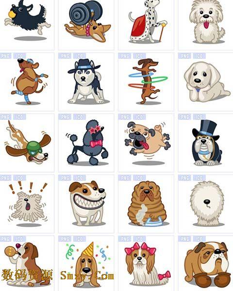 多种可爱动物狗狗设计图标素材