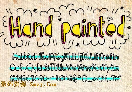 手绘涂鸦艺术字体经过我们检查,是无病毒软件,请放心