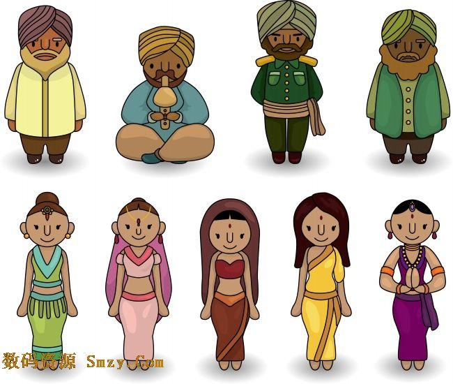 卡通印度人物之服饰篇高清图片