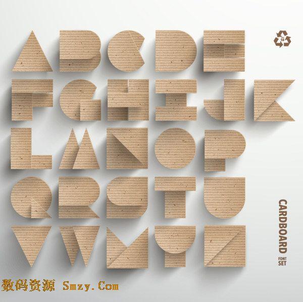 纸板设计英文字母艺术字体