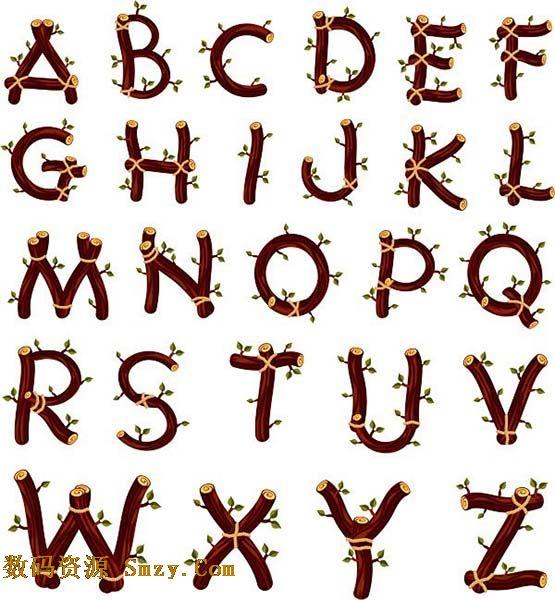 创意木质树枝英文字母矢量艺术字体
