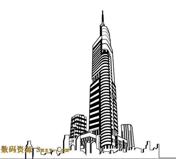 南京紫峰大厦建筑剪影矢量素材