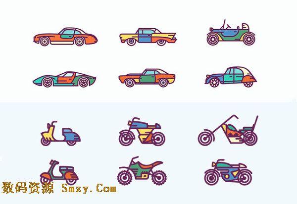 各种简单线条绘制的汽车尽收眼底,加上彩色的搭配更加迷你可爱,详细还