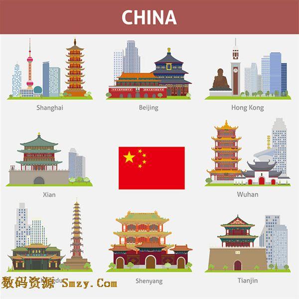 上海,北京,香港,西安,武汉,沈阳,天津,这些城市都拥有自己的地标建筑,想了解他们就来下载这张中国著名的城市地标建筑图标素材,以上城市的标志性建筑楼阁大厦均有体现,同时还为您提供中国五星红旗标志,详细还请见JPG缩略图,需要的朋友可以点击下载收藏!