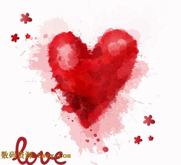 红色水彩喷溅爱心矢量素材