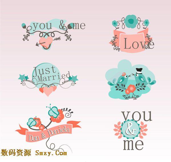 花纹小清新婚礼标签设计矢量素材图片