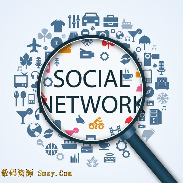 放大镜社交网络图谱设计矢量素材