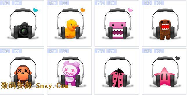 个性耳麦耳机搭配玩偶组成的图标