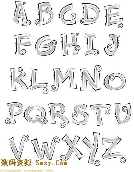 手绘英文字母艺术字体