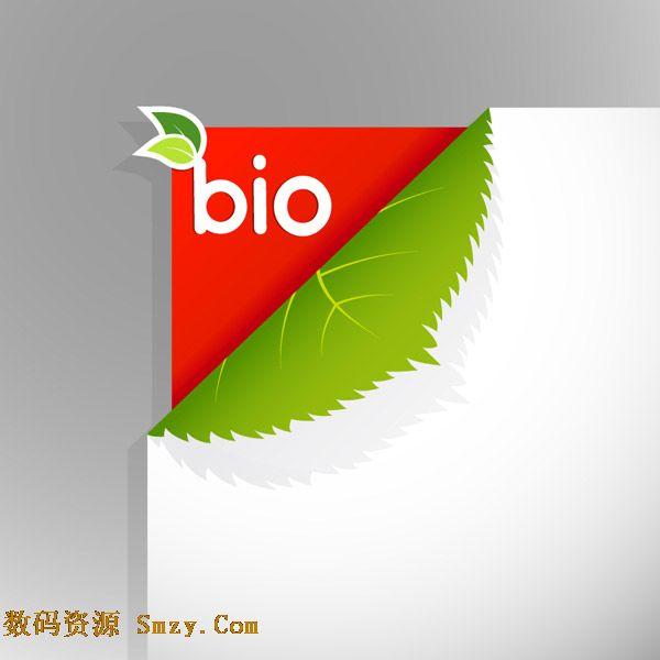 创意折角绿叶纸张设计矢量素材