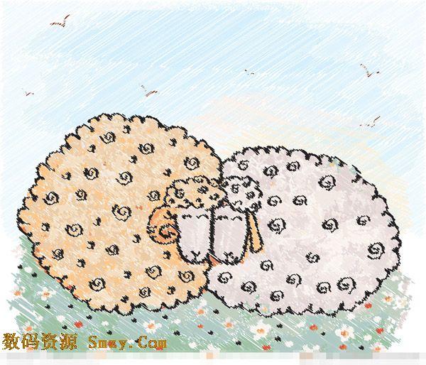 2015羊年卡通水彩画背景矢量素材