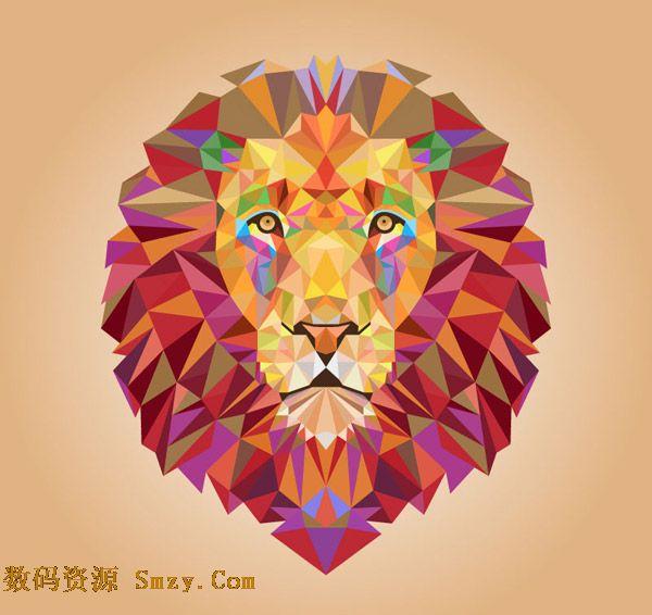 创意设计矢量素材展示的是创意的几何彩色拼接立体头像,形态就是狮子