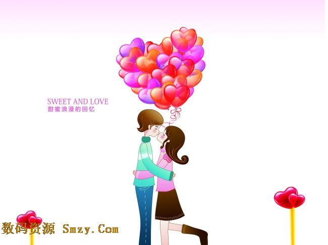 2015情人节卡通情侣气球插画高清图片