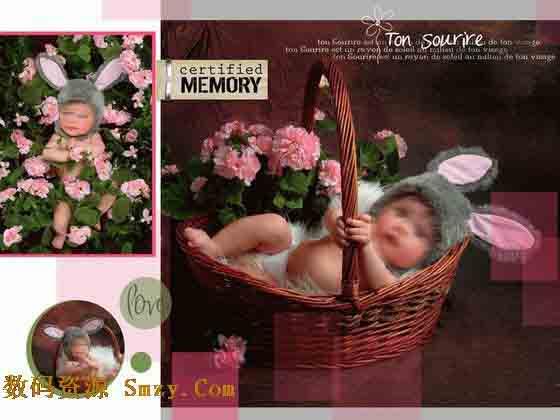 模板的背景主色调,右边的那张横版儿童照片,是本张儿童相册模板展现