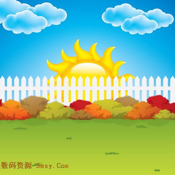 卡通蓝天白云太阳花园背景矢量素材